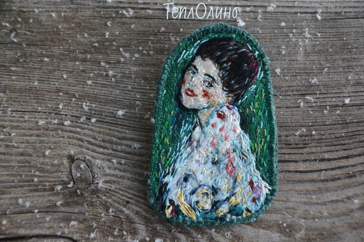 """Купить Текстильная бохо брошь, вдохновленная Климтом, """"Портрет женщины"""" - Климт, Густав Климт, портрет"""