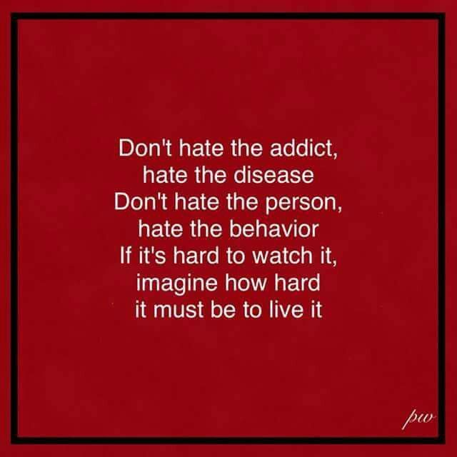 Love Finds You Quote: Dont Hate The Addict, Hate The Disease.