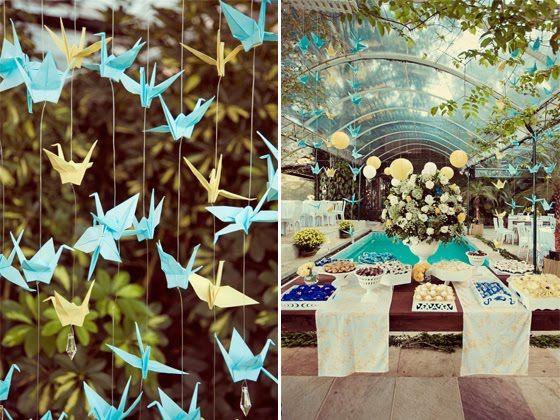 Origamis na decoração dar um ar de leveza e delicadeza.