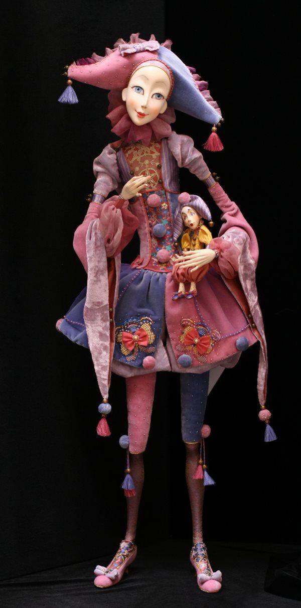 Jester Holding a Jester by Russian Dollmaker, Annadan- Anna Arbenina-Pinchuk.