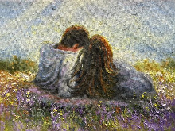 Wrapped - Original Oil Painting - Vickie Wade art, couples, lovers, hugging, kissing, love, spring, romantic, paintings