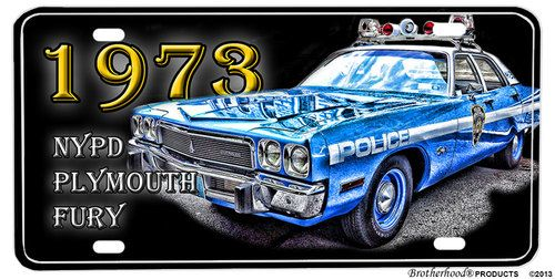 1973 NYPD Plymouth Fury Aluminum License Plate