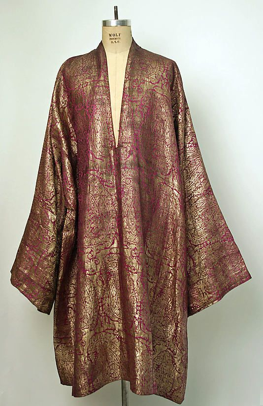 Coat (Choga) - c. late 19th century, silk Indian coat.