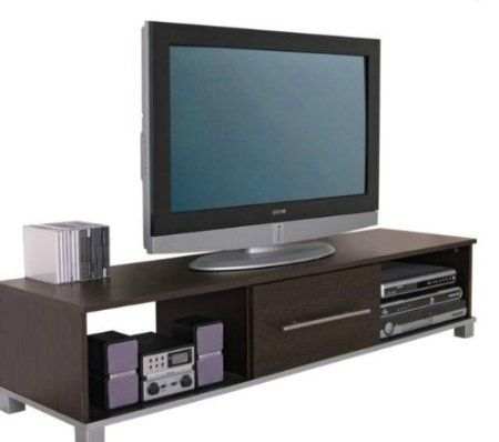 TV Stand Widescreen Unit Dark Wood Wenge Finish. Suitable for 50 Inch Television