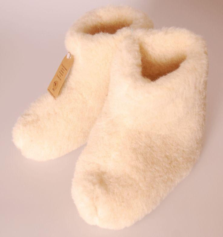 Schapenwollen pantoffels wit