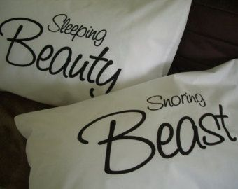 Couples Pillow Cases: Sleeping Beauty / Snoring Beast pillowcase set
