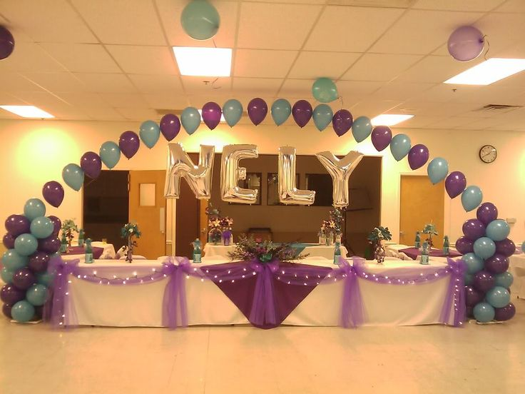 Main table decorations for quinceanera court quinceanera for Balloon arch decoration ideas