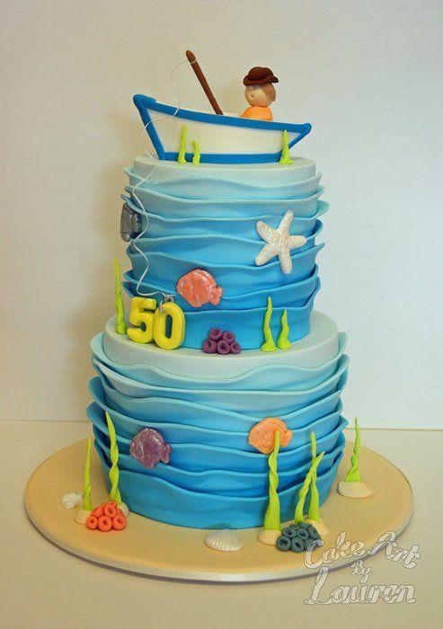 Man Gone Fishing Birthday Cake - by CakeArtByLauren @ CakesDecor.com - cake decorating website
