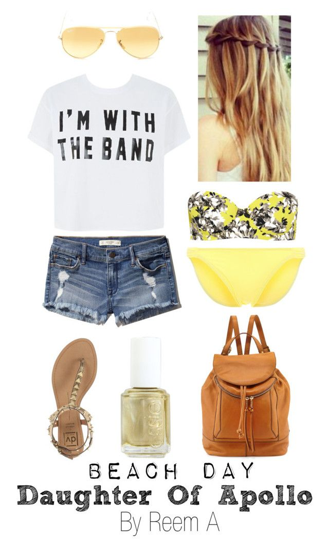 """Daughter of Apollo Beach Day, Cabin 7, Percy Jackson Inspired Outfit"" by reemabdulhussein ❤ liked on Polyvore featuring J.Crew, Abercrombie & Fitch, Kiwi, Dolce Vita, Ray-Ban, Essie and Kooba"