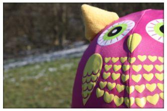 Pink owl helmet cover
