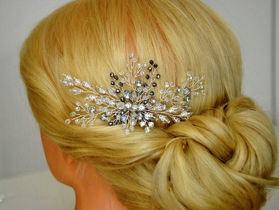 Tender wedding hair piece for your winter wedding. This bridal headpiece is rich in beautiful sparkling clear crystals, rhinestones and silver crystal beads that will allow this bridal hair accessory to become a beautiful addition to your elegant bridal hairstyle. The branches of