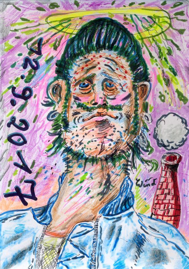 Rockabilly Man mit kotzendem Heiligenschein (Rockabilly Man With Puking Halo), 2017 by J.G.Wind - Metaphysical drawing and portrait / Pittura metafisica / Neo-metaphysical art / Rockabilly art