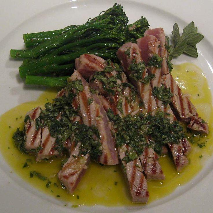 Grilled tuna with salsa salmoriglio and bottarga.