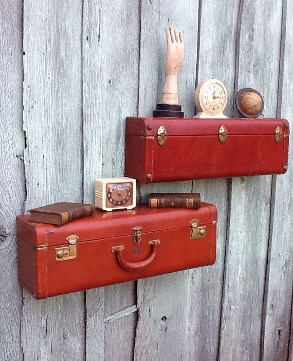 upcycled vintage suitcase wall shelves - Oupa's old suitccase turned into shelving in the mission room