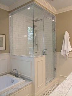 Glass shower enclosure...panels on shower. The only way to a glass enclosed shower is this, much more updated and classy.