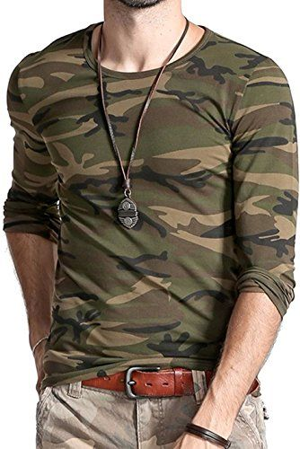 22f4dbff LionRoar Men's Army Round Neck Full Sleeve Camouflage T Shirts for Men