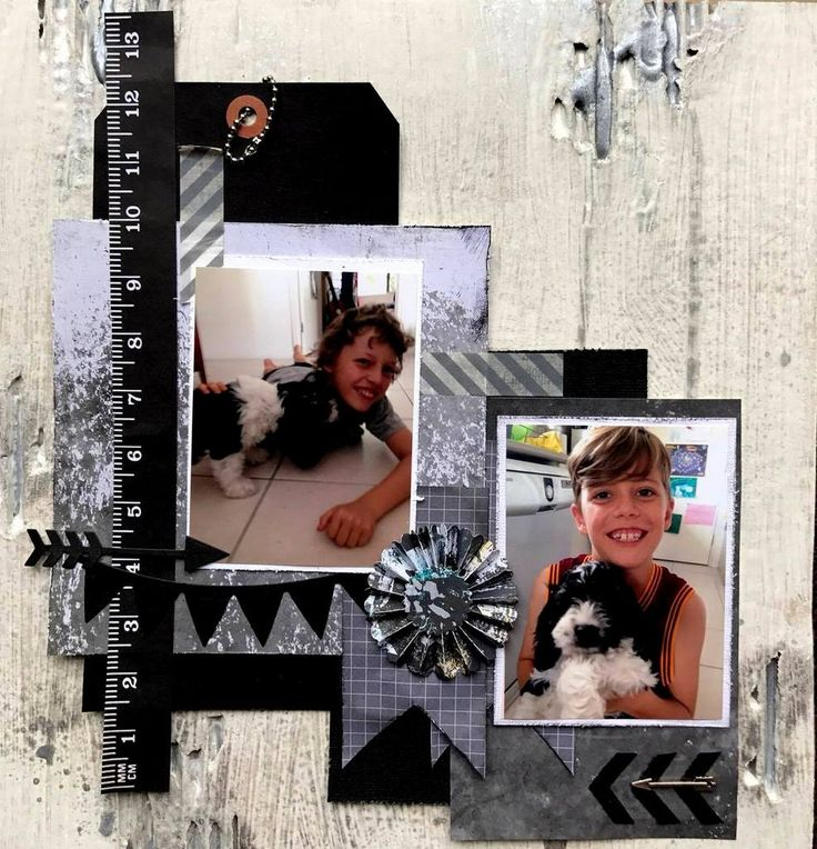 Nephews with dog scrapbooking layout based on corrugated cardboard and kaisercraft papers with rosette and arrows
