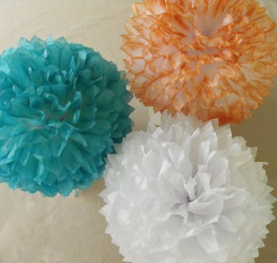 3 Teal and Coral Poms Teal Coral Wedding by HandDyedPoms on Etsy, $18.50