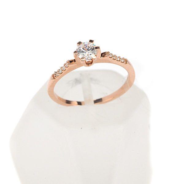 Μονόπετρο δαχτυλίδι Al'oro  Κ18 ροζ χρυσό  διαμάντι 1501