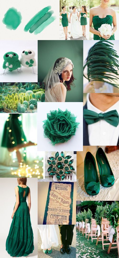 Emerald Green Mood board  www.weddingcouture.co.za