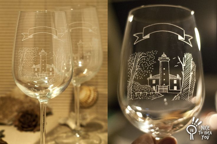 Hand engraved Bibione's Lighthouse wine glasses (Venice - Italy), a gift for a birthday.  #bibione #venice