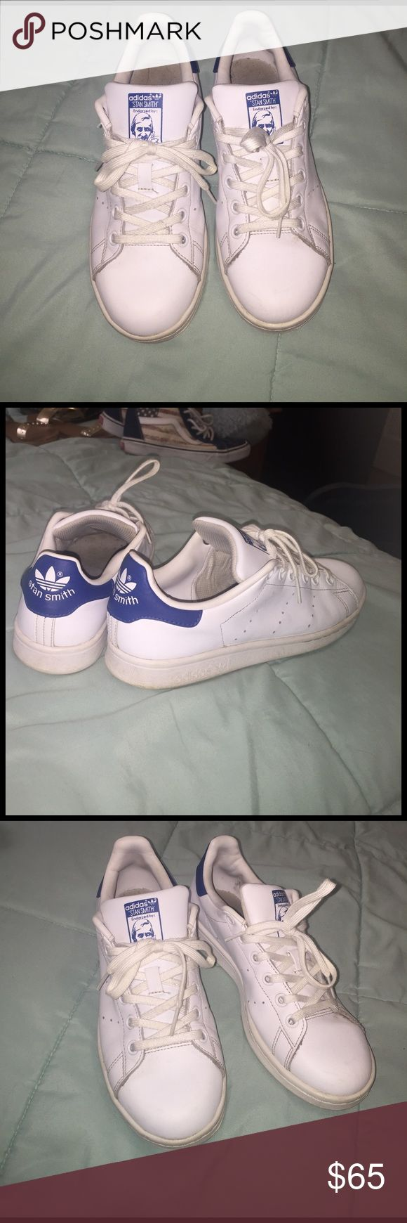 Stan Smith Adidas . White & Blue White and Blue Original Stan Smith Adidas . When you buy them before i send them off I will hand wash them 🤗✨ so they can look as fresh as they were when I got them (: Adidas Shoes Sneakers