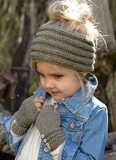Childs Headwarmer or Cowl with matching fingerless gloves. Link to purchase pattern.:
