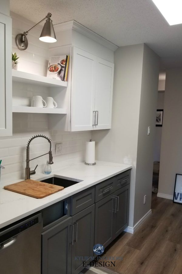 Painted Oak Cabinets Dark Gray Paint Color On The Lowers Sherwin Williams Gauntlet Gray In 2020 Interior Kitchen Small New Kitchen Cabinets Painting Kitchen Cabinets