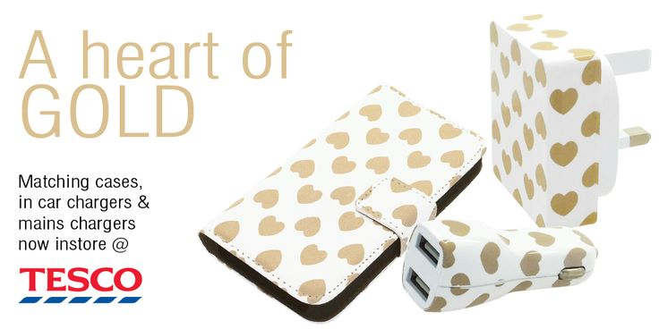 Golden hearts decorate these stylish chargers and cases available at Tesco stores