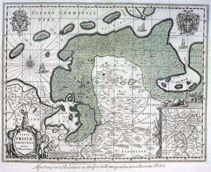 Deze kaart van Oost-Friesland van de hand van Ubbo Emmius (1547-1625) werd oorspronkelijk in 1630 gepubliceerd in een atlas van Willem Jansz. Blaeu (1571-1638).