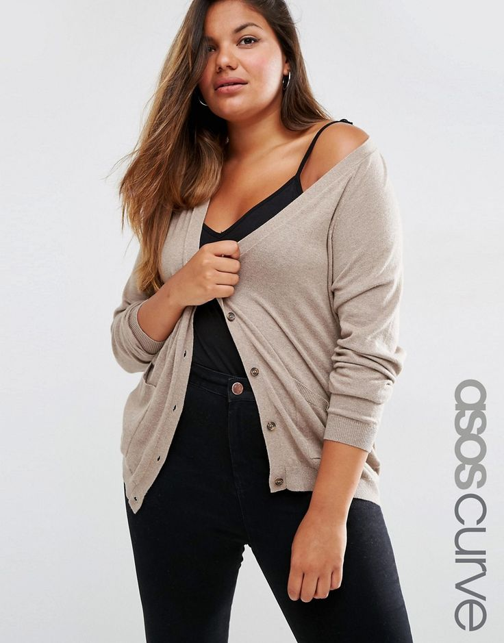 Image 1 of ASOS CURVE Cardigan In Cashmere Mix