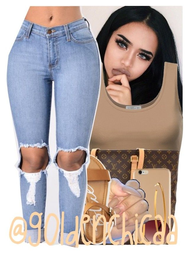 """""""Go Follow @Saucinonyou999"""" by g0ldenchicaa ❤ liked on Polyvore featuring Louis Vuitton, MINKPINK, Yossi Harari and Aéropostale"""