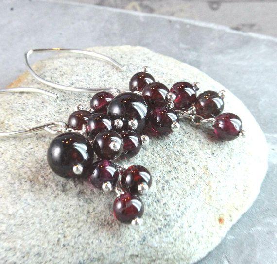 Deep Red Garnet Earrings  Sterling  Silver  January