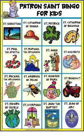 Patron Saints for Kids Bingo  AECH FOR  SIT THE HAS ALL SAINT PATRON OF  USE GOOD SERCH GIVE MONEY TO CHA YOUR PICL O ONE OF THE DAY