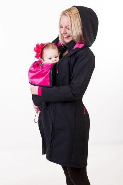 NANA babywearing coat - pink and black