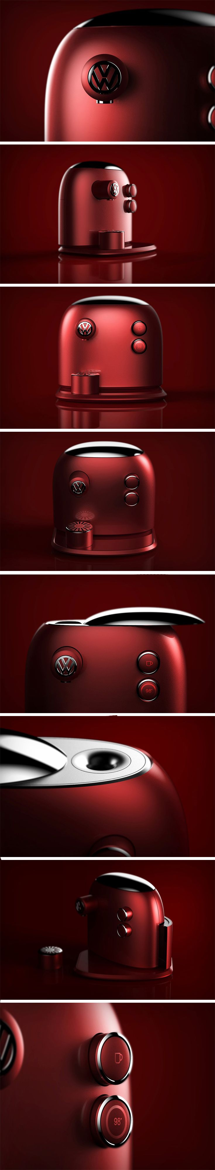 "'Barista Beetle' – a Volkswagen inspired coffee machine designed by Jarim Koo. Klaus Bischoff – Volkswagen's Head of Design – describes the brand's design philosophy in 3 words: ""Simple, sophisticated, and different."" Koo has undoubtedly adopted this philosophy across the Barista Beetle. Koo has embodied the brand's unique image and identity here that is synonymous with the VW Beetle."