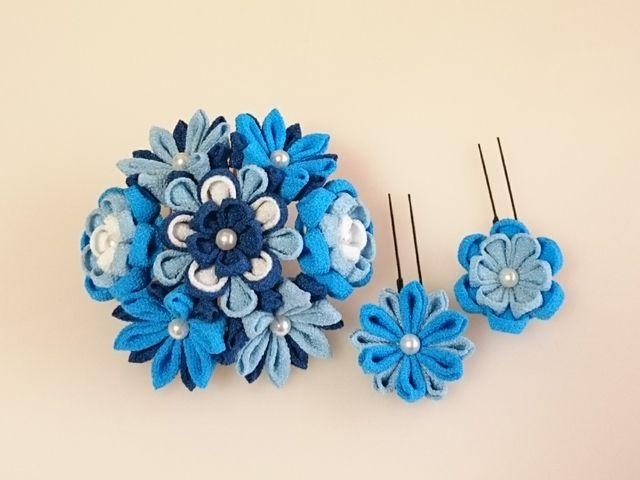 つまみ細工*青の花コームとUピン