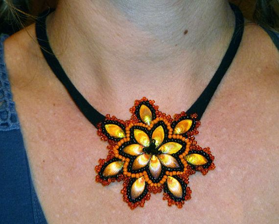 Handmade bead embroidery pendant/necklace   by IzabelaCichocka