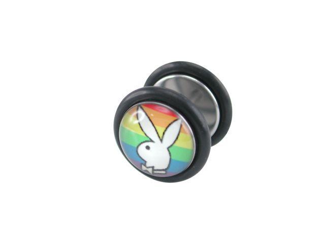 Surgical Steel 10mm Rainbow Playboy Fake Plug Earring 1.2x6mm (each)