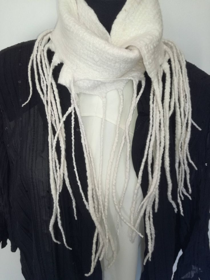 White handmade Merino wool felt scarf. Warm Winter Scarf.  Handmade unique scarf. Great gift. Lightweight and warm. by FeltCreativeNZ on Etsy