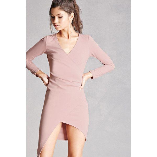 Forever21 Surplice Front Mini Dress ($38) ❤ liked on Polyvore featuring dresses, mauve, long sleeve full length dress, forever 21 dresses, short pink dress, long-sleeve maxi dress and longsleeve dress