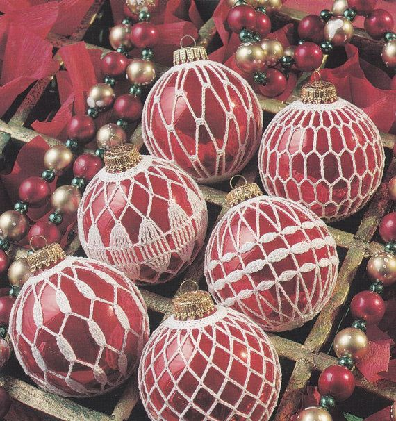 Crochet Patterns Christmas Ornaments : Christmas Ornament Crochet Patterns - 12 Ball Covers - Elegant Orname ...