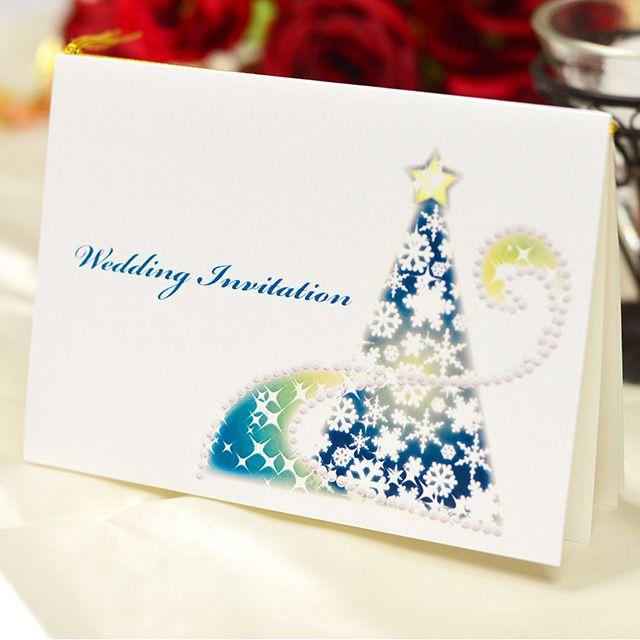 手作り【招待状キット】クリスマスイルミネーション(1名様分) キラキラと輝くイルミネーションをデザインした上品な手作り招待状キット。 大人可愛いウェディングに♪ 冬・クリスマスシーズンにぴったりです!