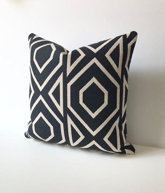 Black And Off White Large Scale Geometric Modern Decorative Pillow