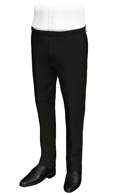 Fundamental Black - Plain grey slim fit pants made from wool and polyster...  Custom pants, which, depending on the combination, can be worn casually or elegantly. They have a displaced fastening, vertical side pockets and piped back pockets with buttons. Worn with a tucked-in shirt they are perfect for the office.  http://www.tailor4less.com/en/collections/custom-pants/basics-collection-pants/fundamental-black