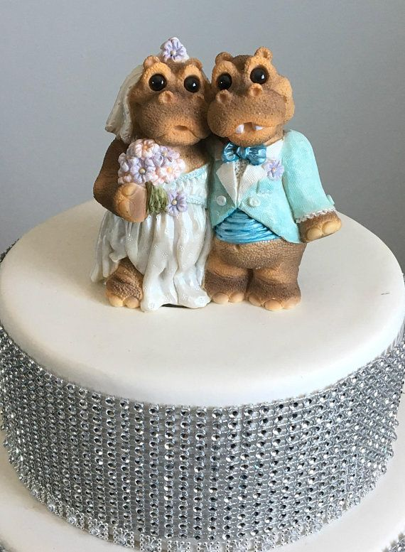 Cutest Wedding Cake Toppers.Hippo Wedding Couple Wedding Cake Topper Cute Animal Bride And