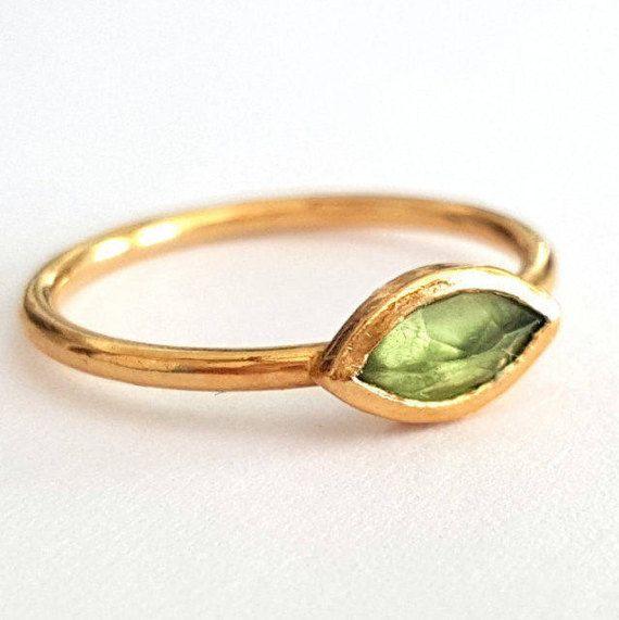 Peridoot Marquise Ring, Gouden Ring, verlovingsring, augustus Birthstone Ring, verjaardag ringen, Solitaire ring, handgemaakte Ring,