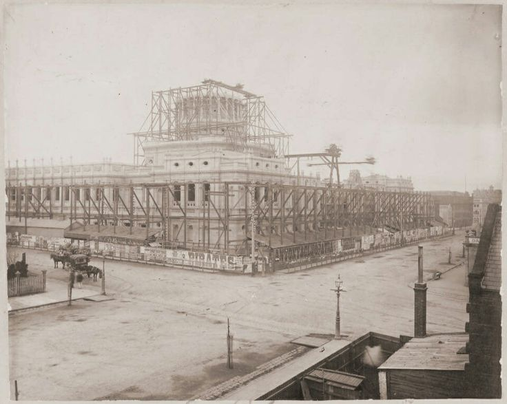 Melbourne's Supreme Court in construction in 1875.