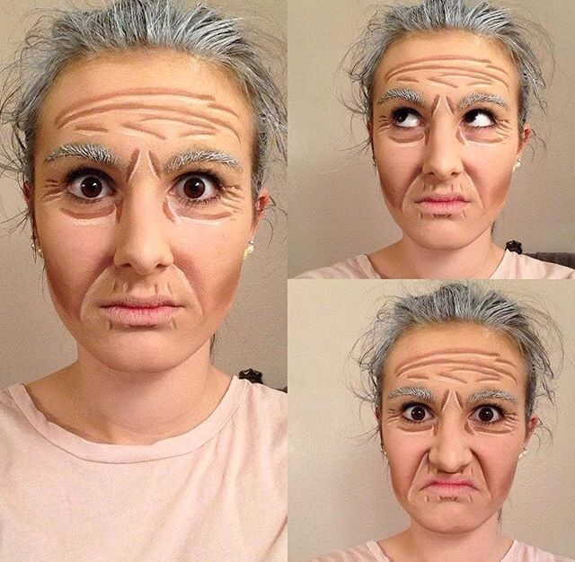 Proscenium stage old age makeup More