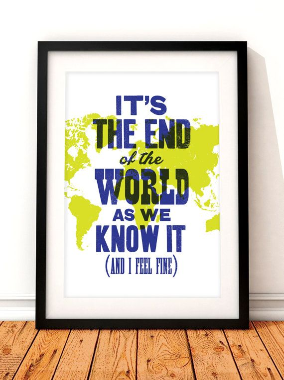 R.E.M. inspired typographic print. This typographic print would make a great addition to any music lovers home or any home for that matter! The